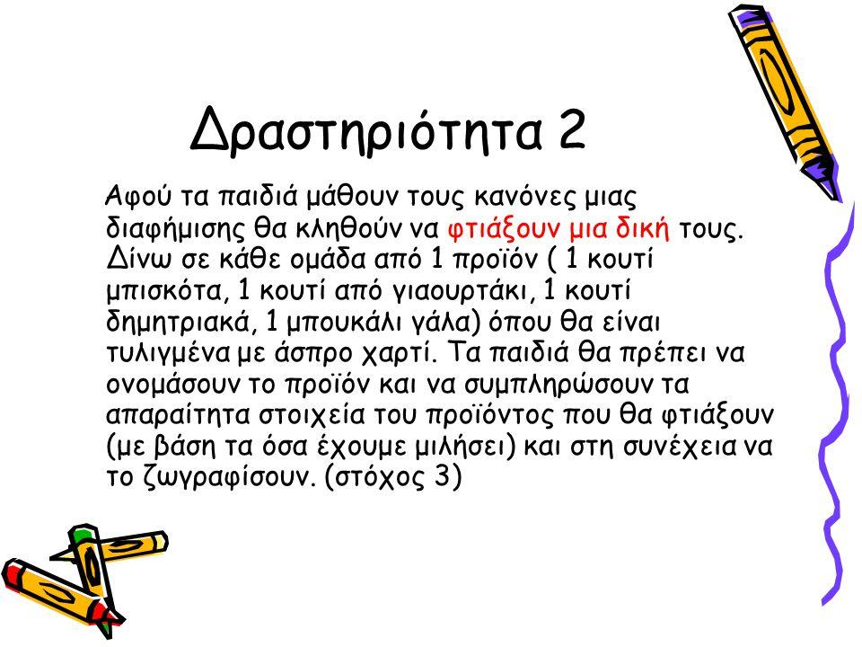 Δραστηριότητα 2 Αφού τα παιδιά μάθουν τους κανόνες μιας διαφήμισης θα κληθούν να φτιάξουν μια δική τους.