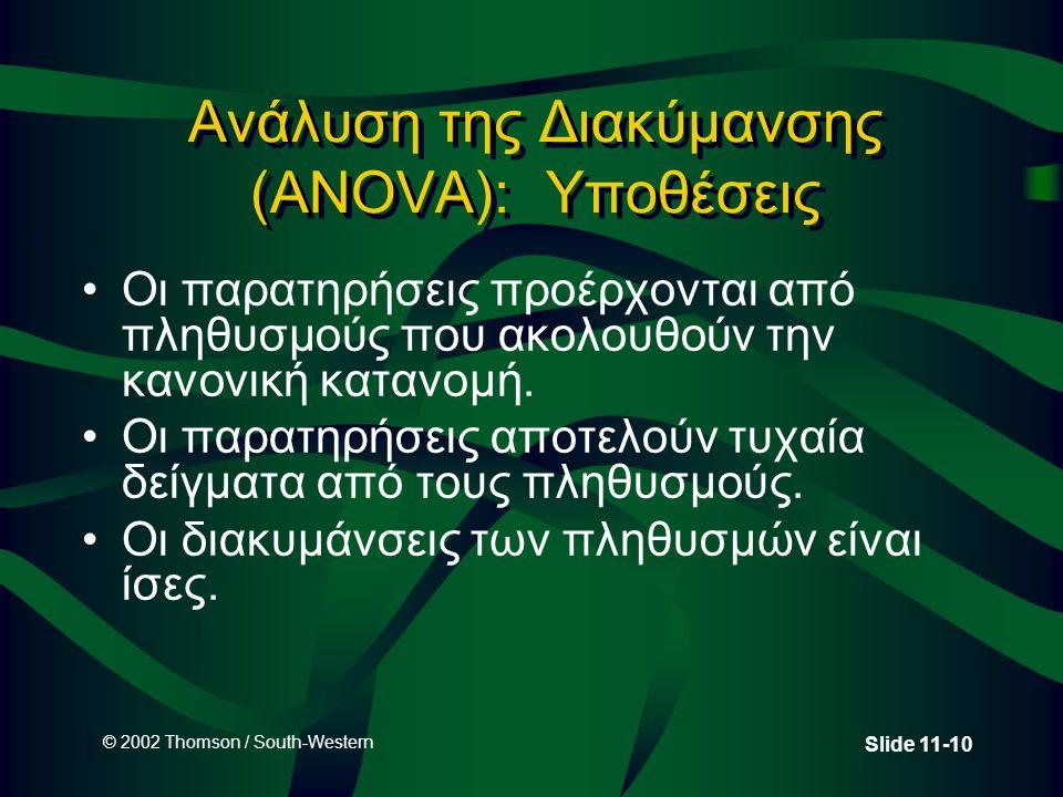 © 2002 Thomson / South-Western Slide 11-10 Ανάλυση της Διακύμανσης (ANOVA): Υποθέσεις •Οι παρατηρήσεις προέρχονται από πληθυσμούς που ακολουθούν την κ