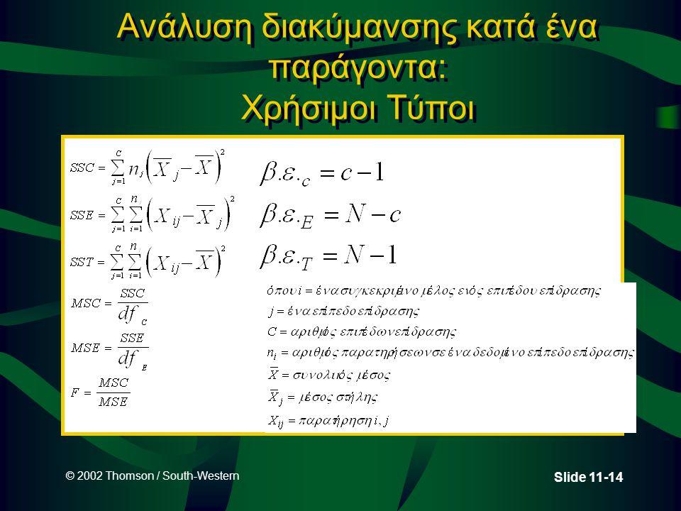 © 2002 Thomson / South-Western Slide 11-14 Ανάλυση διακύμανσης κατά ένα παράγοντα: Χρήσιμοι Τύποι