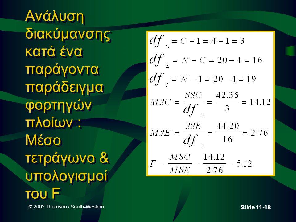 © 2002 Thomson / South-Western Slide 11-18 Ανάλυση διακύμανσης κατά ένα παράγοντα παράδειγμα φορτηγών πλοίων : Μέσο τετράγωνο & υπολογισμοί του F