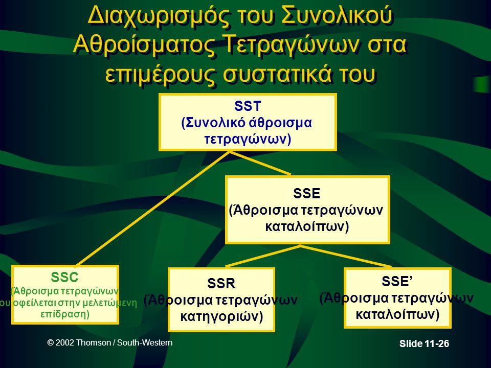 © 2002 Thomson / South-Western Slide 11-26 Διαχωρισμός του Συνολικού Αθροίσματος Τετραγώνων στα επιμέρους συστατικά του SST (Συνολικό άθροισμα τετραγώ