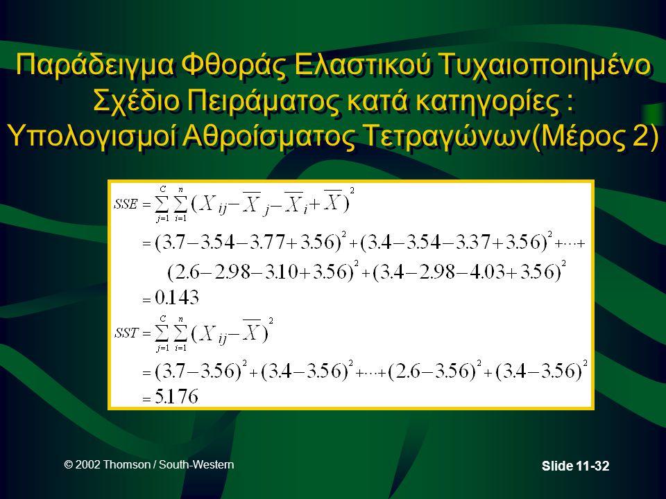 © 2002 Thomson / South-Western Slide 11-32 Παράδειγμα Φθοράς Ελαστικού Τυχαιοποιημένο Σχέδιο Πειράματος κατά κατηγορίες : Υπολογισμοί Αθροίσματος Τετρ