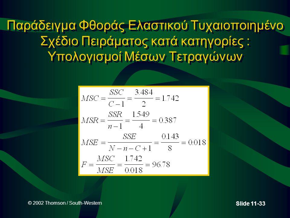 © 2002 Thomson / South-Western Slide 11-33 Παράδειγμα Φθοράς Ελαστικού Τυχαιοποιημένο Σχέδιο Πειράματος κατά κατηγορίες : Υπολογισμοί Μέσων Τετραγώνων