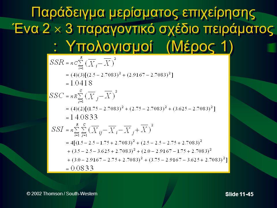 © 2002 Thomson / South-Western Slide 11-45 Παράδειγμα μερίσματος επιχείρησης Ένα 2  3 παραγοντικό σχέδιο πειράματος : Υπολογισμοί (Μέρος 1)