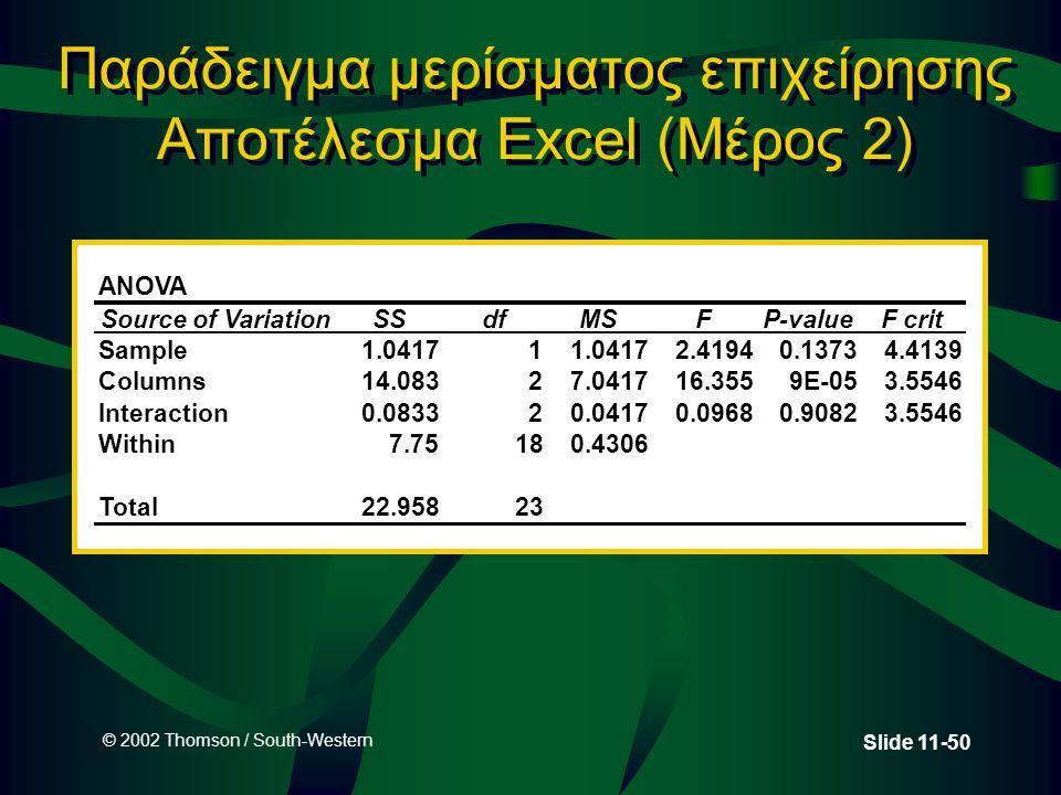 © 2002 Thomson / South-Western Slide 11-50 Παράδειγμα μερίσματος επιχείρησης Αποτέλεσμα Excel (Μέρος 2) ANOVA Source of VariationSSdfMSFP-valueF crit