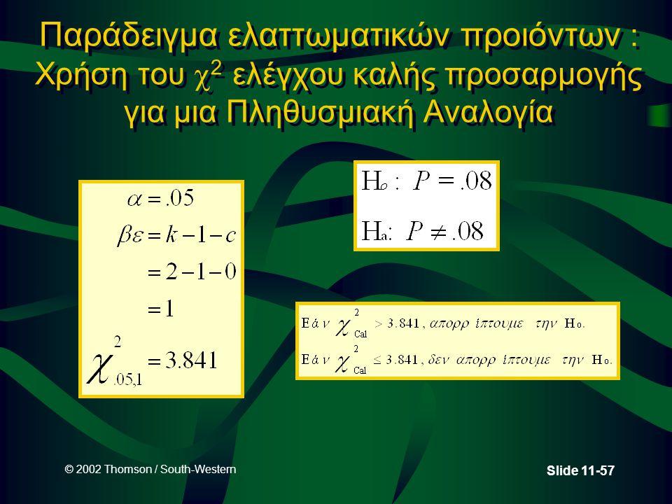 © 2002 Thomson / South-Western Slide 11-57 Παράδειγμα ελαττωματικών προιόντων : Χρήση του  2 ελέγχου καλής προσαρμογής για μια Πληθυσμιακή Αναλογία