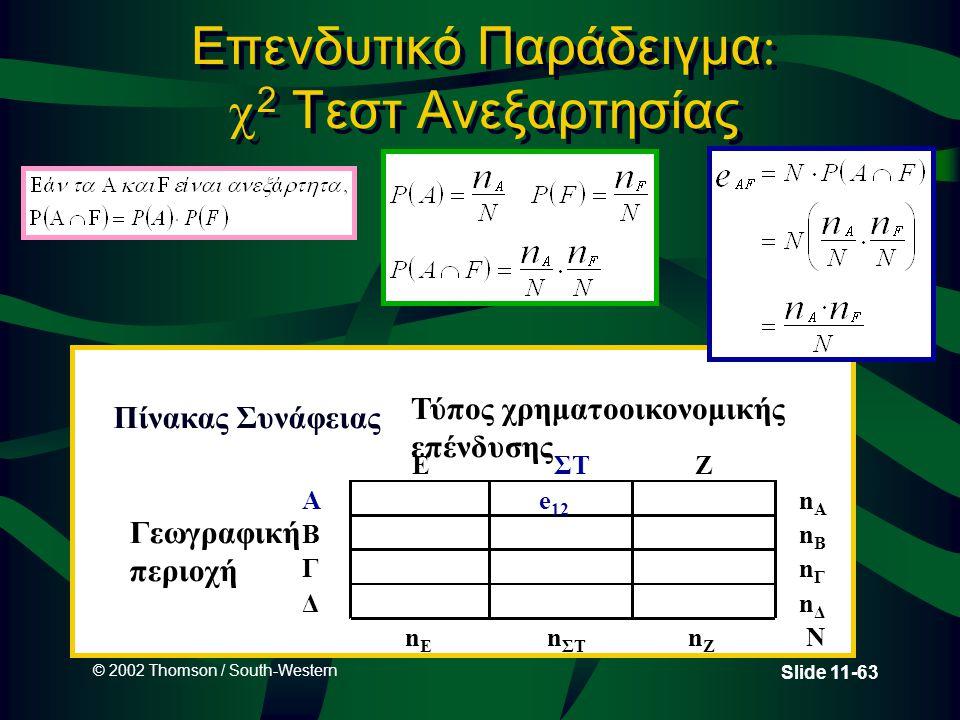 © 2002 Thomson / South-Western Slide 11-63 Επενδυτικό Παράδειγμα   2 Τεστ Ανεξαρτησίας Τύπος χρηματοοικονομικής επένδυσης EΣΤΖ Ae 12 nAnA Γεωγραφική