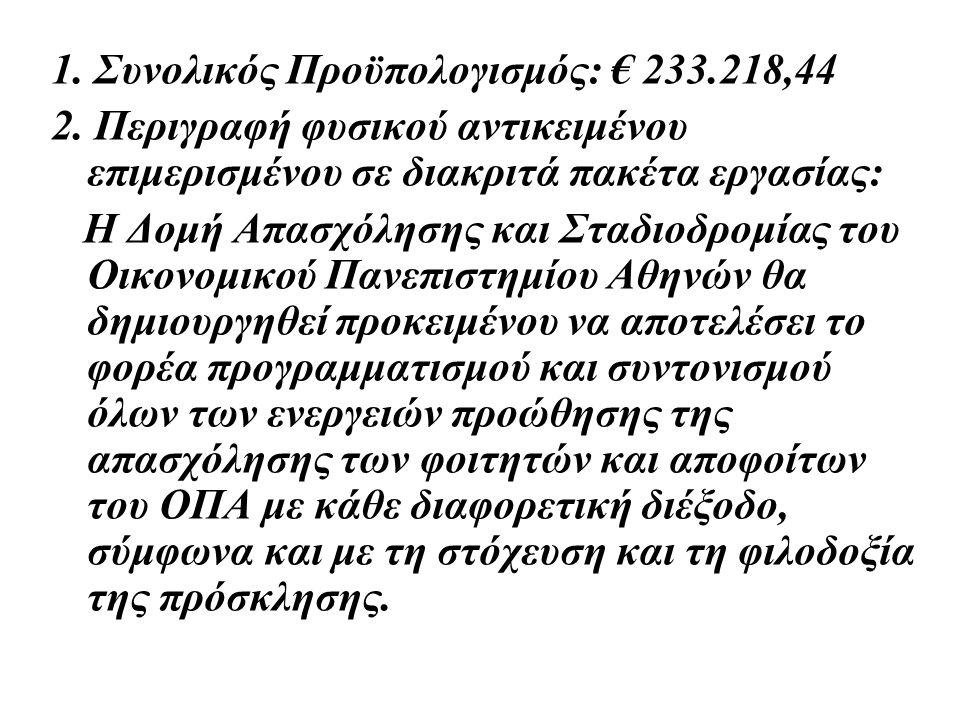 1. Συνολικός Προϋπολογισμός: € 233.218,44 2. Περιγραφή φυσικού αντικειμένου επιμερισμένου σε διακριτά πακέτα εργασίας: Η Δομή Απασχόλησης και Σταδιοδρ