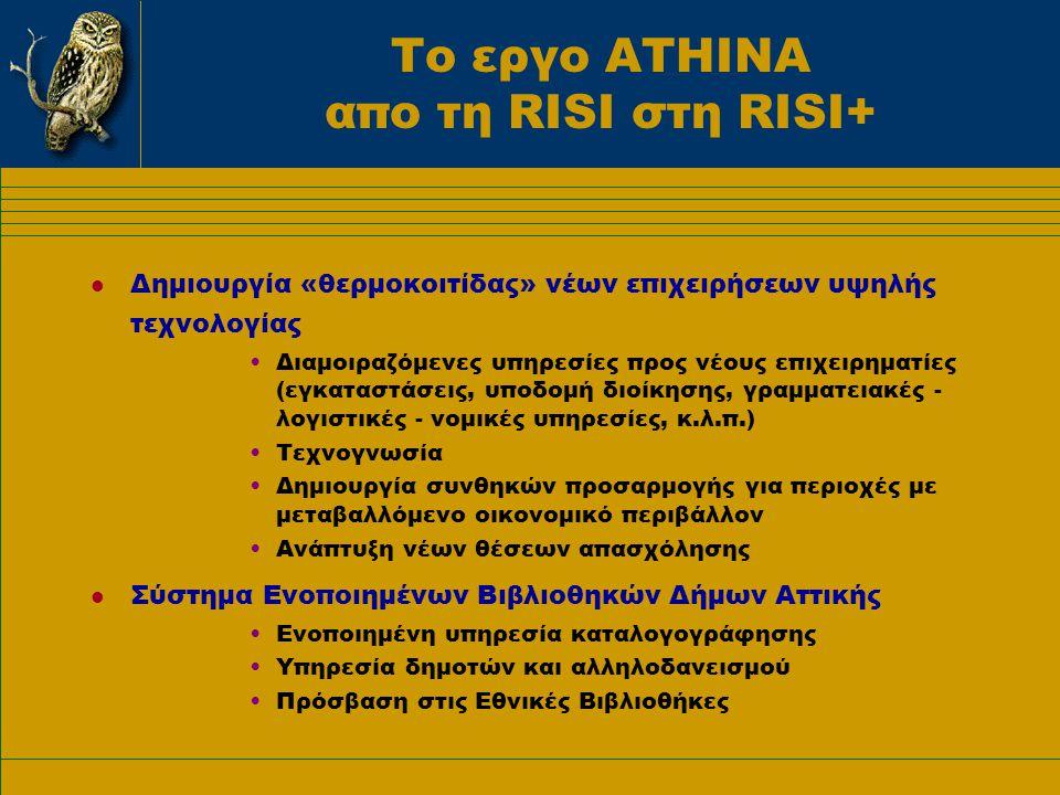 Το εργο ΑΤΗΙΝΑ απο τη RISI στη RISI+ Δράσεις Α.