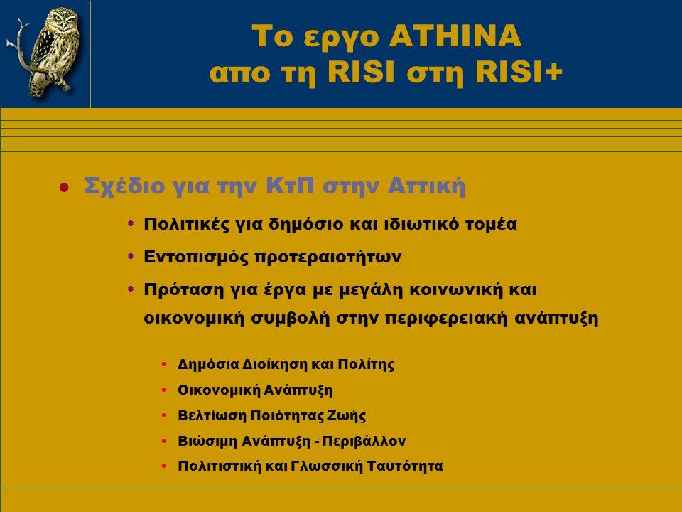 Το εργο ΑΤΗΙΝΑ απο τη RISI στη RISI+ l Σχέδιο για την ΚτΠ στην Αττική •Πολιτικές για δημόσιο και ιδιωτικό τομέα •Εντοπισμός προτεραιοτήτων •Πρόταση για έργα με μεγάλη κοινωνική και οικονομική συμβολή στην περιφερειακή ανάπτυξη •Δημόσια Διοίκηση και Πολίτης •Οικονομική Ανάπτυξη •Βελτίωση Ποιότητας Ζωής •Βιώσιμη Ανάπτυξη - Περιβάλλον •Πολιτιστική και Γλωσσική Ταυτότητα