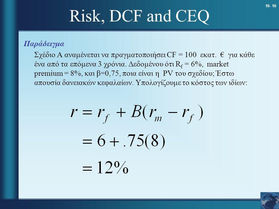 10- 10 Risk, DCF and CEQ Παράδειγμα Σχέδιο A αναμένεται να πραγματοποιήσει CF = 100 εκατ. € για κάθε ένα από τα επόμενα 3 χρόνια. Δεδομένου ότι R f =