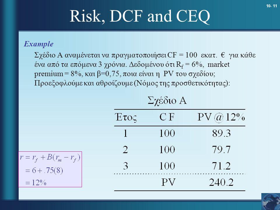 10- 11 Risk, DCF and CEQ Example Σχέδιο A αναμένεται να πραγματοποιήσει CF = 100 εκατ. € για κάθε ένα από τα επόμενα 3 χρόνια. Δεδομένου ότι R f = 6%,