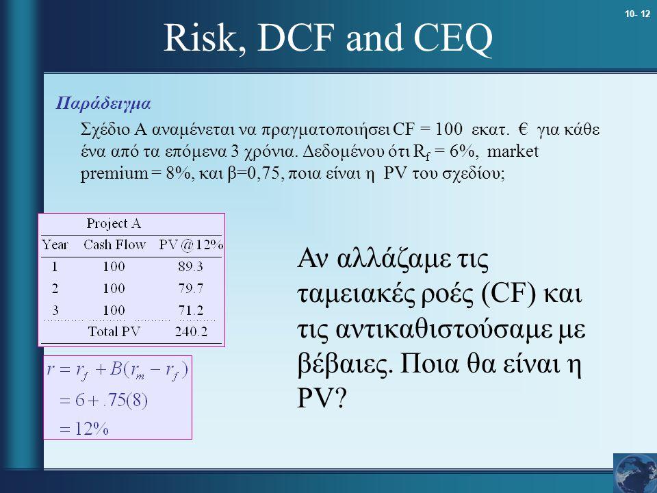 10- 12 Risk, DCF and CEQ Παράδειγμα Σχέδιο A αναμένεται να πραγματοποιήσει CF = 100 εκατ. € για κάθε ένα από τα επόμενα 3 χρόνια. Δεδομένου ότι R f =