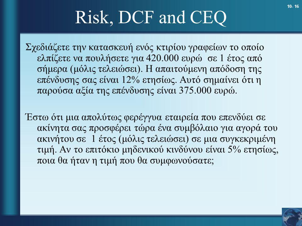 10- 16 Risk, DCF and CEQ Σχεδιάζετε την κατασκευή ενός κτιρίου γραφείων το οποίο ελπίζετε να πουλήσετε για 420.000 ευρώ σε 1 έτος από σήμερα (μόλις τελειώσει).