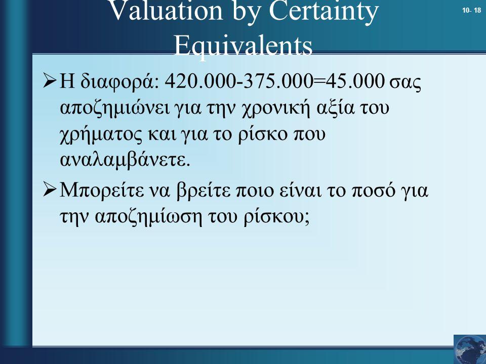 10- 18 Valuation by Certainty Equivalents  Η διαφορά: 420.000-375.000=45.000 σας αποζημιώνει για την χρονική αξία του χρήματος και για το ρίσκο που α