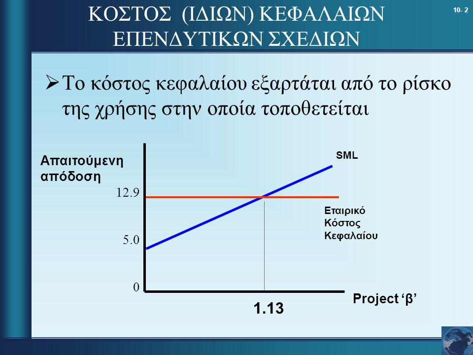 10- 2 ΚΟΣΤΟΣ (ΙΔΙΩΝ) ΚΕΦΑΛΑΙΩΝ ΕΠΕΝΔΥΤΙΚΩΝ ΣΧΕΔΙΩΝ  Το κόστος κεφαλαίου εξαρτάται από το ρίσκο της χρήσης στην οποία τοποθετείται Απαιτούμενη απόδοση Project 'β' 1.13 Εταιρικό Κόστος Κεφαλαίου 12.9 5.0 0 SML