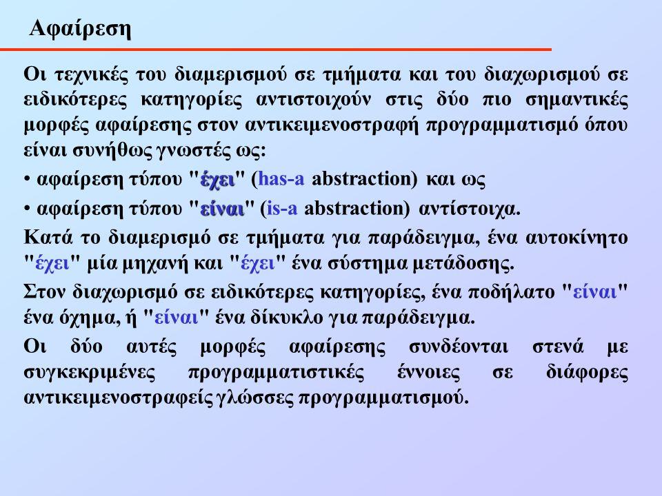 Αφαίρεση Οι τεχνικές του διαμερισμού σε τμήματα και του διαχωρισμού σε ειδικότερες κατηγορίες αντιστοιχούν στις δύο πιο σημαντικές μορφές αφαίρεσης στον αντικειμενοστραφή προγραμματισμό όπου είναι συνήθως γνωστές ως: έχει • αφαίρεση τύπου έχει (has-a abstraction) και ως είναι • αφαίρεση τύπου είναι (is-a abstraction) αντίστοιχα.