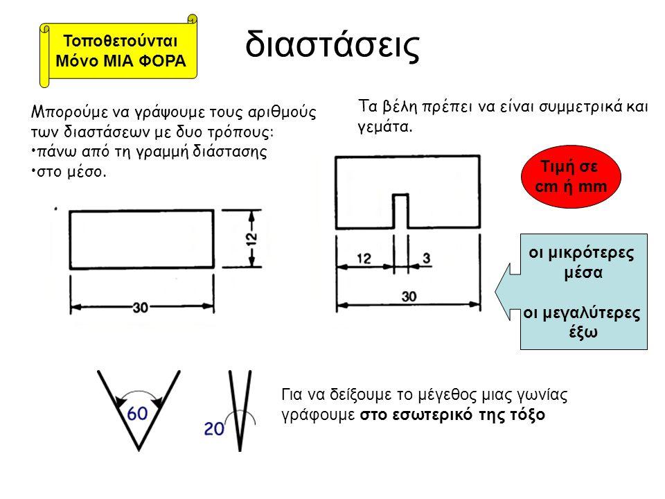 διαστάσεις Μπορούμε να γράψουμε τους αριθμούς των διαστάσεων με δυο τρόπους: •πάνω από τη γραμμή διάστασης •στο μέσο. Τα βέλη πρέπει να είναι συμμετρι
