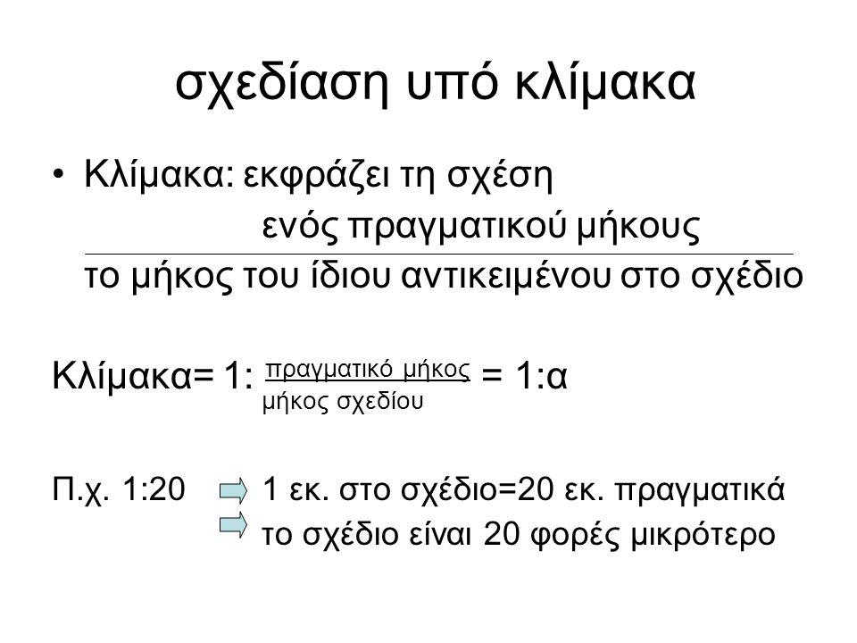 σχεδίαση υπό κλίμακα •Κλίμακα: εκφράζει τη σχέση ενός πραγματικού μήκους το μήκος του ίδιου αντικειμένου στο σχέδιο Κλίμακα= 1: πραγματικό μήκος = 1:α