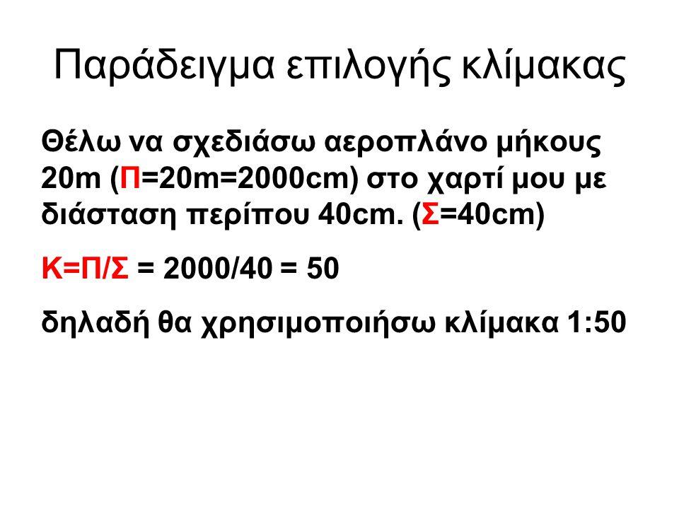 Παράδειγμα επιλογής κλίμακας Θέλω να σχεδιάσω αεροπλάνο μήκους 20m (Π=20m=2000cm) στο χαρτί μου με διάσταση περίπου 40cm. (Σ=40cm) K=Π/Σ = 2000/40 = 5