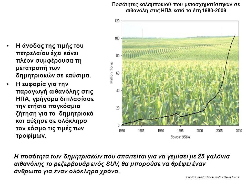 Τρόφιμα για καύσιμα… Ποσότητες καλαμποκιού που μετασχηματίστηκαν σε αιθανόλη στις ΗΠΑ κατά τα έτη 1980-2009 •Η άνοδος της τιμής του πετρελαίου έχει κά