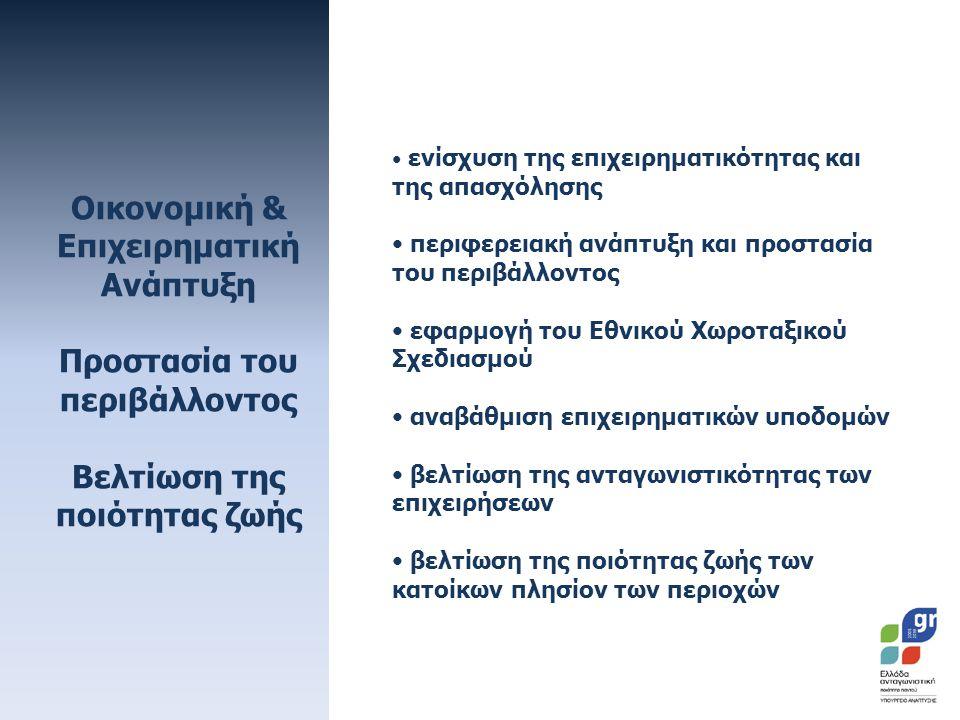 Οικονομική & Επιχειρηματική Ανάπτυξη Προστασία του περιβάλλοντος Βελτίωση της ποιότητας ζωής • ενίσχυση της επιχειρηματικότητας και της απασχόλησης • περιφερειακή ανάπτυξη και προστασία του περιβάλλοντος • εφαρμογή του Εθνικού Χωροταξικού Σχεδιασμού • αναβάθμιση επιχειρηματικών υποδομών • βελτίωση της ανταγωνιστικότητας των επιχειρήσεων • βελτίωση της ποιότητας ζωής των κατοίκων πλησίον των περιοχών