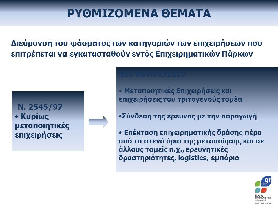 Διεύρυνση του φάσματος των κατηγοριών των επιχειρήσεων που επιτρέπεται να εγκατασταθούν εντός Επιχειρηματικών Πάρκων Ν.
