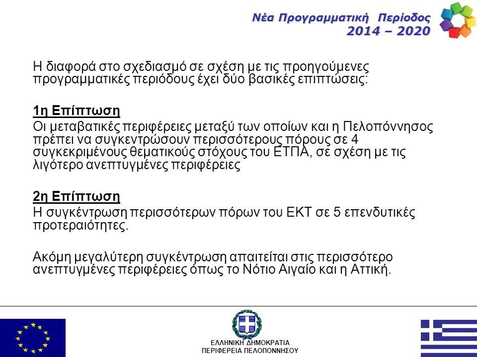 ΕΛΛΗΝΙΚΗ ΔΗΜΟΚΡΑΤΙΑ ΠΕΡΙΦΕΡΕΙΑ ΠΕΛΟΠΟΝΝΗΣΟΥ Νέα Προγραμματική Περίοδος 2014 – 2020 Τα προγράμματα της νέας προγραμματικής περιόδου είναι πολυταμειακά: Συγχρηματοδοτούνται από: •Το ΕΤΠΑ (Ευρωπαϊκό Ταμείο Περιφερειακής Ανάπτυξης) •Το ΕΚΤ (Ευρωπαϊκό Κοινωνικό Ταμείο) Δεν μπορούν να έχουν: •Ταμείο Συνοχής (έργα περιβάλλοντος) •Γεωργικό Ταμείο και •Ταμείο Αλιείας λόγω των κανονισμών των συγκεκριμένων ταμείων.