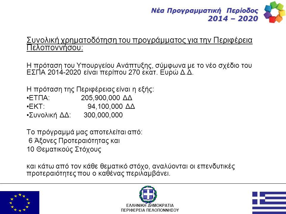 ΕΛΛΗΝΙΚΗ ΔΗΜΟΚΡΑΤΙΑ ΠΕΡΙΦΕΡΕΙΑ ΠΕΛΟΠΟΝΝΗΣΟΥ Νέα Προγραμματική Περίοδος 2014 – 2020 Συνολική χρηματοδότηση του προγράμματος για την Περιφέρεια Πελοπονν