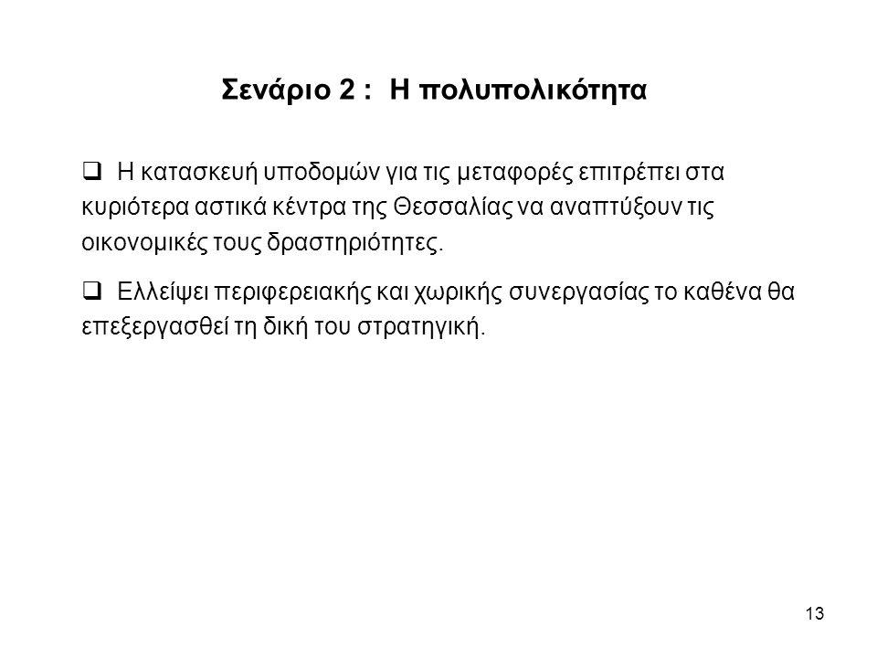 13 Σενάριο 2 : Η πολυπολικότητα  Η κατασκευή υποδομών για τις μεταφορές επιτρέπει στα κυριότερα αστικά κέντρα της Θεσσαλίας να αναπτύξουν τις οικονομικές τους δραστηριότητες.