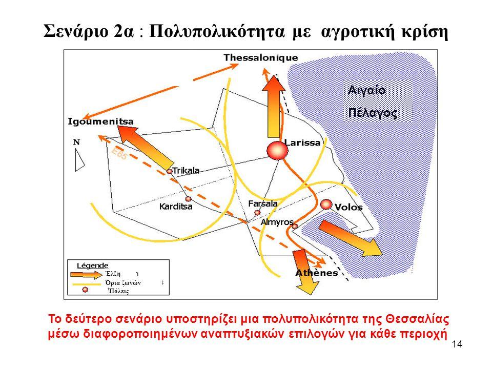 14 Σενάριο 2α : Πολυπολικότητα με αγροτική κρίση Έλξη Πόλεις Όρια ζωνών Αιγαίο Πέλαγος Το δεύτερο σενάριο υποστηρίζει μια πολυπολικότητα της Θεσσαλίας μέσω διαφοροποιημένων αναπτυξιακών επιλογών για κάθε περιοχή