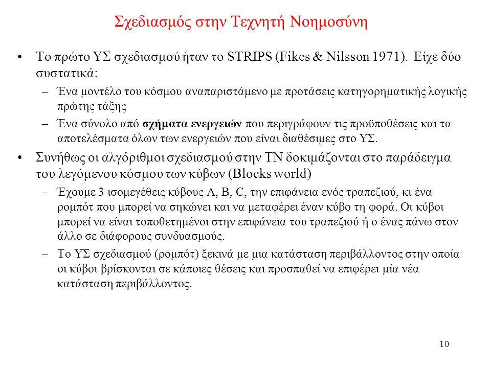 10 Σχεδιασμός στην Τεχνητή Νοημοσύνη •Το πρώτο ΥΣ σχεδιασμού ήταν το STRIPS (Fikes & Nilsson 1971).