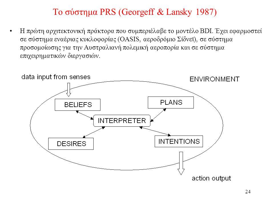 24 Το σύστημα PRS (Georgeff & Lansky 1987) •Η πρώτη αρχιτεκτονική πράκτορα που συμπεριέλαβε το μοντέλο BDI.