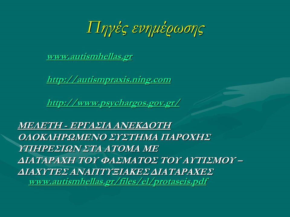 Πηγές ενημέρωσης www.autismhellas.gr www.autismhellas.grwww.autismhellas.gr http://autismpraxis.ning.com http://autismpraxis.ning.comhttp://autismpraxis.ning.com http://www.psychargos.gov.gr/ http://www.psychargos.gov.gr/http://www.psychargos.gov.gr/ ΜΕΛΕΤΗ - ΕΡΓΑΣΙΑ ΑΝΕΚΔΟΤΗ ΟΛΟΚΛΗΡΩΜΕΝΟ ΣΥΣΤΗΜΑ ΠΑΡΟΧΗΣ ΥΠΗΡΕΣΙΩΝ ΣΤΑ ΑΤΟΜΑ ΜΕ ΔΙΑΤΑΡΑΧΗ ΤΟΥ ΦΑΣΜΑΤΟΣ ΤΟΥ ΑΥΤΙΣΜΟΥ – ΔΙΑΧΥΤΕΣ ΑΝΑΠΤΥΞΙΑΚΕΣ ΔΙΑΤΑΡΑΧΕΣ www.autismhellas.gr/files/el/protaseis.pdf www.autismhellas.gr/files/el/protaseis.pdf