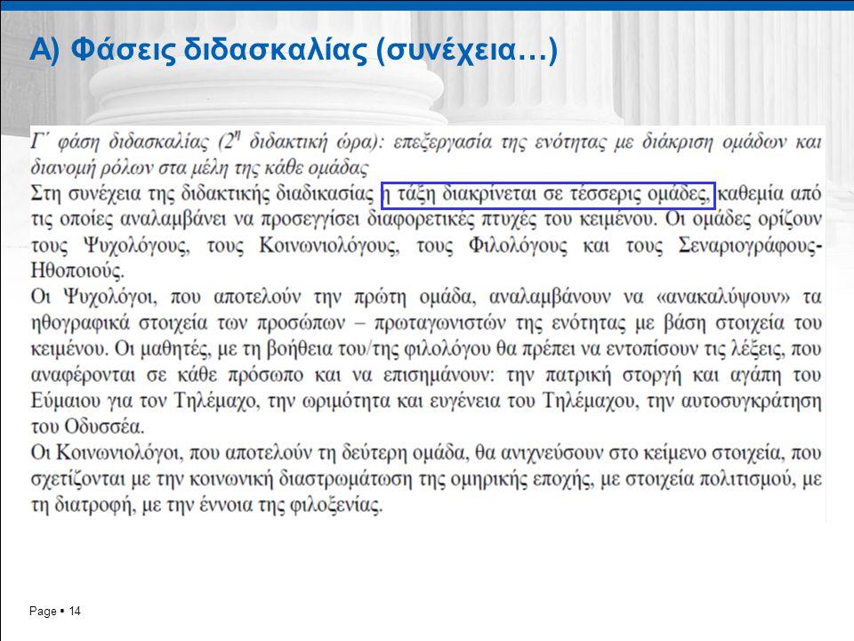 Page  14 Α) Φάσεις διδασκαλίας (συνέχεια…)