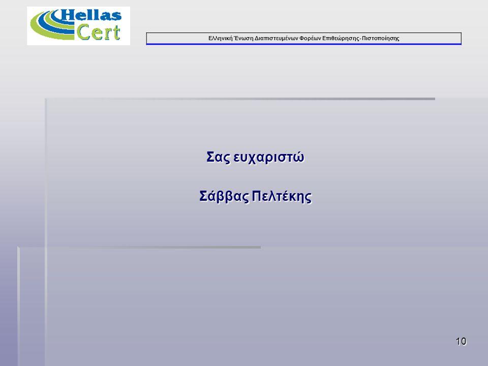 Ελληνική Ένωση Διαπιστευμένων Φορέων Επιθεώρησης- Πιστοποίησης 10 Σας ευχαριστώ Σάββας Πελτέκης