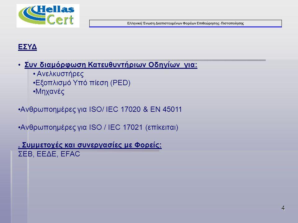 Ελληνική Ένωση Διαπιστευμένων Φορέων Επιθεώρησης- Πιστοποίησης 4 ΕΣΥΔ • Συν διαμόρφωση Κατευθυντήριων Οδηγίων για: • Ανελκυστήρες •Εξοπλισμό Υπό πίεση