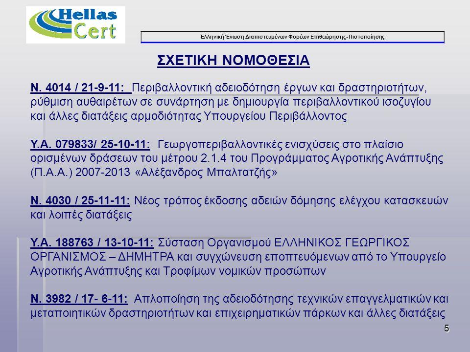Ελληνική Ένωση Διαπιστευμένων Φορέων Επιθεώρησης- Πιστοποίησης 5 Ν. 4014 / 21-9-11: Περιβαλλοντική αδειοδότηση έργων και δραστηριοτήτων, ρύθμιση αυθαι