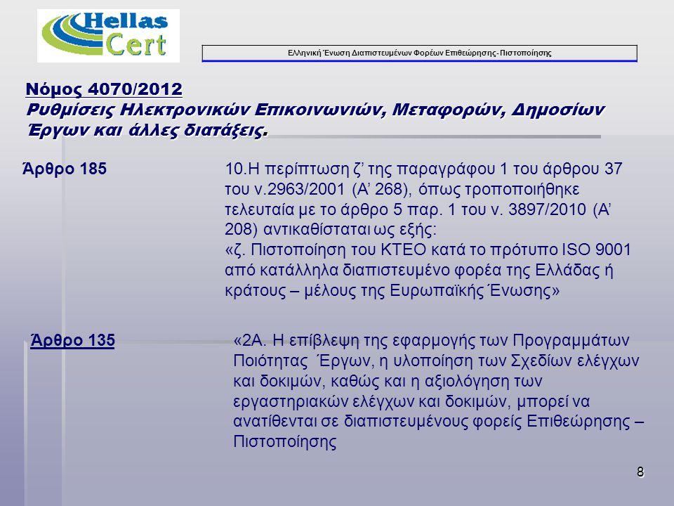 Ελληνική Ένωση Διαπιστευμένων Φορέων Επιθεώρησης- Πιστοποίησης 8 Νόμος 4070/2012 Ρυθμίσεις Ηλεκτρονικών Επικοινωνιών, Μεταφορών, Δημοσίων Έργων και άλλες διατάξεις.