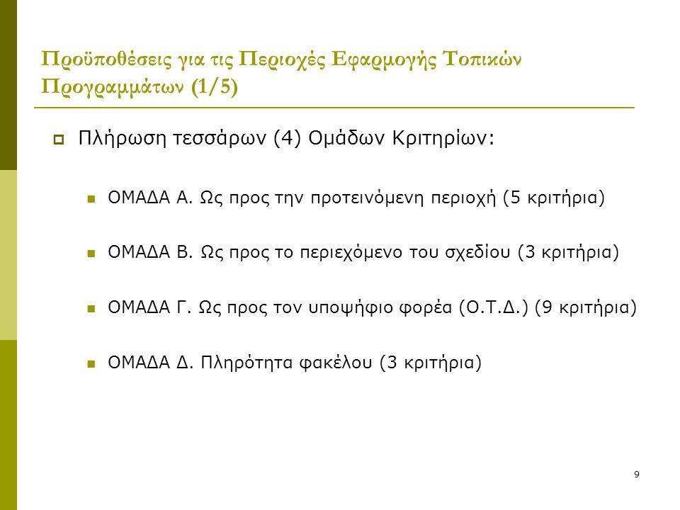 9 Προϋποθέσεις για τις Περιοχές Εφαρμογής Τοπικών Προγραμμάτων (1/5)  Πλήρωση τεσσάρων (4) Ομάδων Κριτηρίων:  ΟΜΑΔΑ Α. Ως προς την προτεινόμενη περι