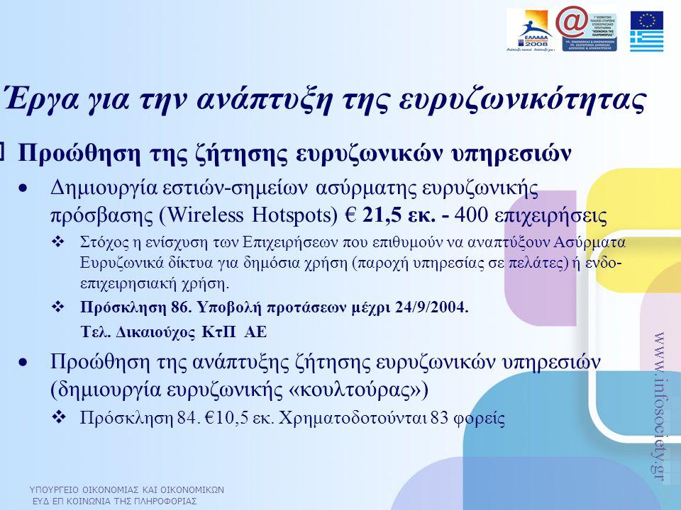 ΥΠΟΥΡΓΕΙΟ ΟΙΚΟΝΟΜΙΑΣ ΚΑΙ ΟΙΚΟΝΟΜΙΚΩΝ ΕΥΔ ΕΠ ΚΟΙΝΩΝΙΑ ΤΗΣ ΠΛΗΡΟΦΟΡΙΑΣ www.infosociety.gr Έργα για την ανάπτυξη της ευρυζωνικότητας  Προώθηση της ζήτησ
