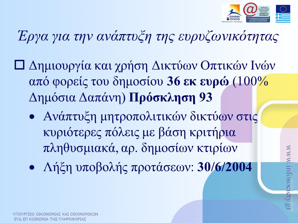 ΥΠΟΥΡΓΕΙΟ ΟΙΚΟΝΟΜΙΑΣ ΚΑΙ ΟΙΚΟΝΟΜΙΚΩΝ ΕΥΔ ΕΠ ΚΟΙΝΩΝΙΑ ΤΗΣ ΠΛΗΡΟΦΟΡΙΑΣ www.infosociety.gr  Δημιουργία και χρήση Δικτύων Οπτικών Ινών από φορείς του δημ