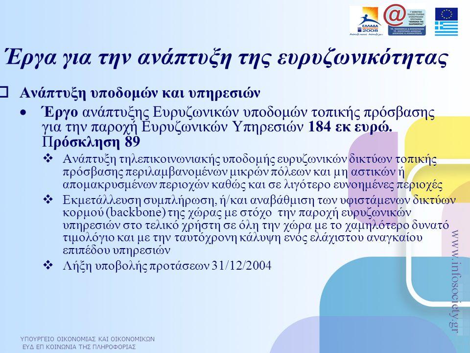ΥΠΟΥΡΓΕΙΟ ΟΙΚΟΝΟΜΙΑΣ ΚΑΙ ΟΙΚΟΝΟΜΙΚΩΝ ΕΥΔ ΕΠ ΚΟΙΝΩΝΙΑ ΤΗΣ ΠΛΗΡΟΦΟΡΙΑΣ www.infosociety.gr  Ανάπτυξη υποδομών και υπηρεσιών  Έργο ανάπτυξης Ευρυζωνικών