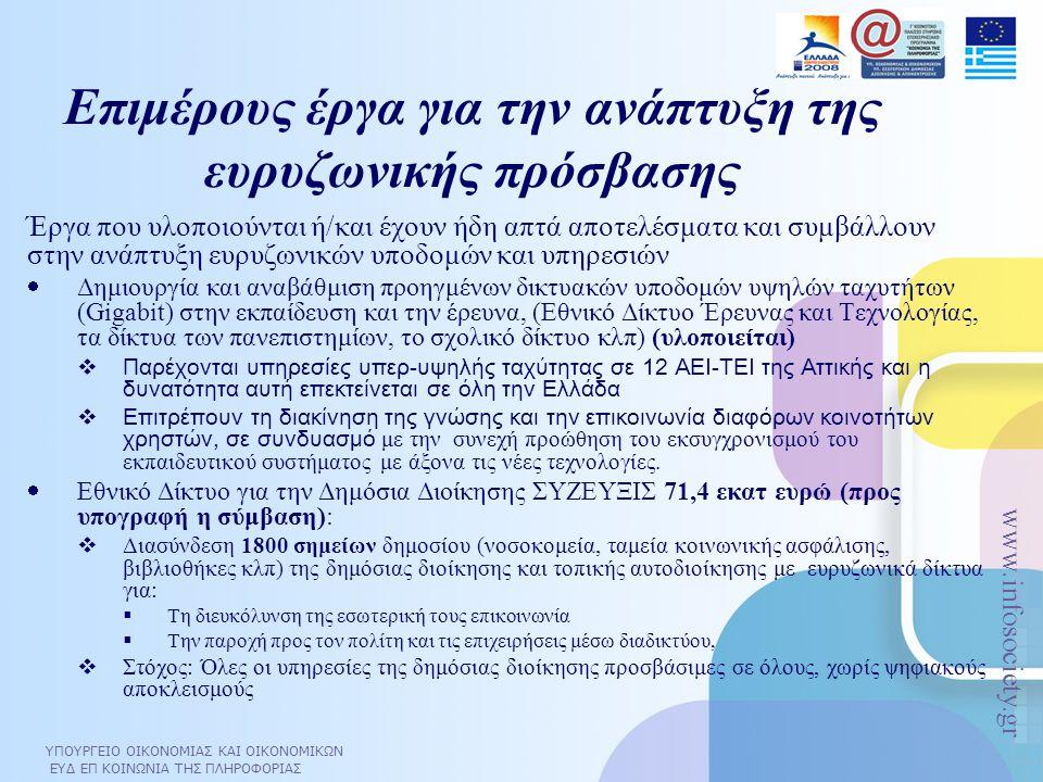 ΥΠΟΥΡΓΕΙΟ ΟΙΚΟΝΟΜΙΑΣ ΚΑΙ ΟΙΚΟΝΟΜΙΚΩΝ ΕΥΔ ΕΠ ΚΟΙΝΩΝΙΑ ΤΗΣ ΠΛΗΡΟΦΟΡΙΑΣ www.infosociety.gr Επιμέρους έργα για την ανάπτυξη της ευρυζωνικής πρόσβασης  Έρ