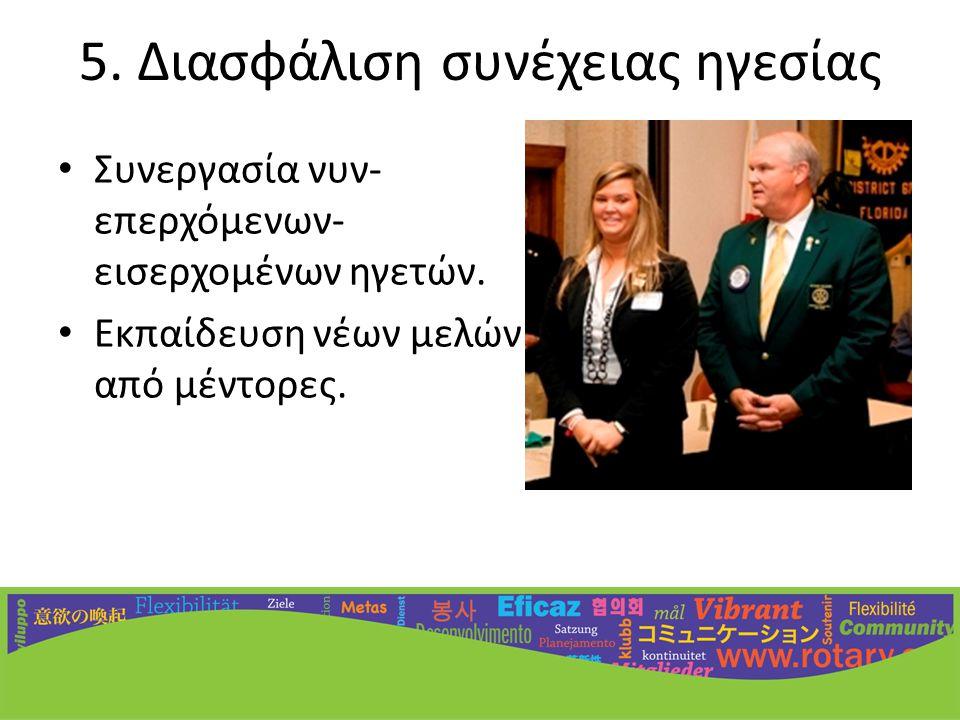 5. Διασφάλιση συνέχειας ηγεσίας • Συνεργασία νυν- επερχόμενων- εισερχομένων ηγετών.