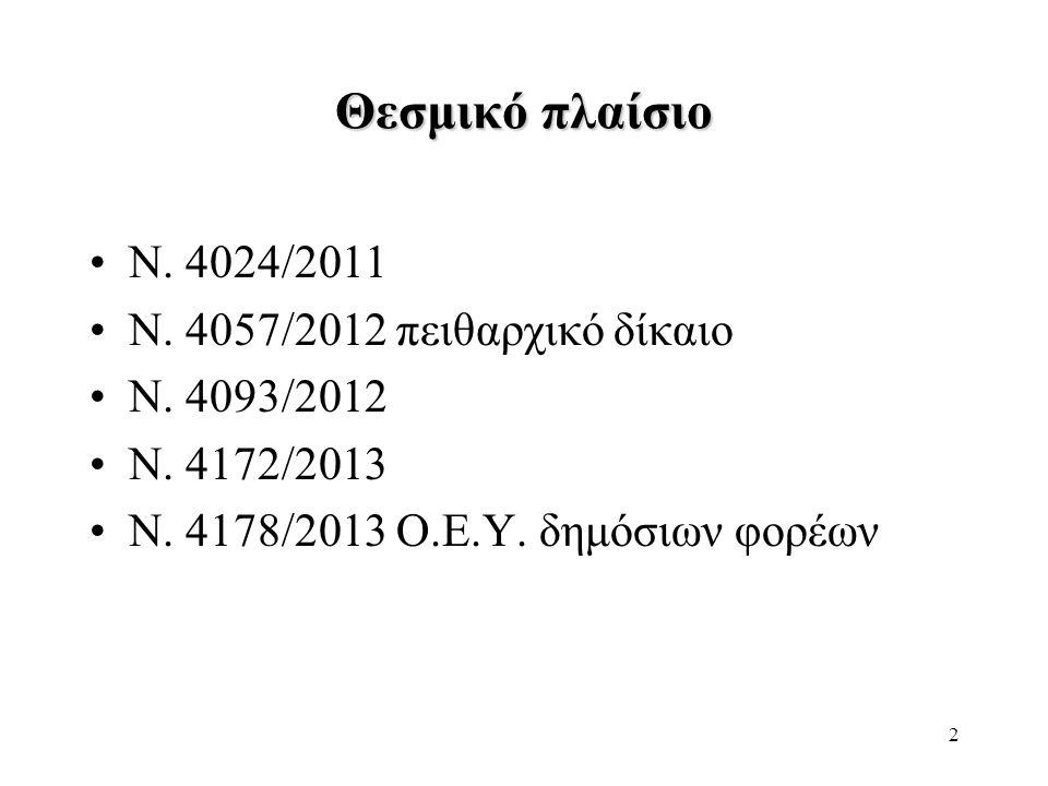 2 Θεσμικό πλαίσιο •Ν. 4024/2011 •Ν. 4057/2012 πειθαρχικό δίκαιο •Ν. 4093/2012 •Ν. 4172/2013 •Ν. 4178/2013 Ο.Ε.Υ. δημόσιων φορέων