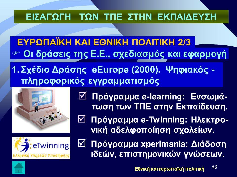 10  Οι δράσεις της Ε.Ε., σχεδιασμός και εφαρμογή 1.Σχέδιο Δράσης eEurope (2000). Ψηφιακός - πληροφορικός εγγραμματισμός  Πρόγραμμα e-learning: Ενσωμ