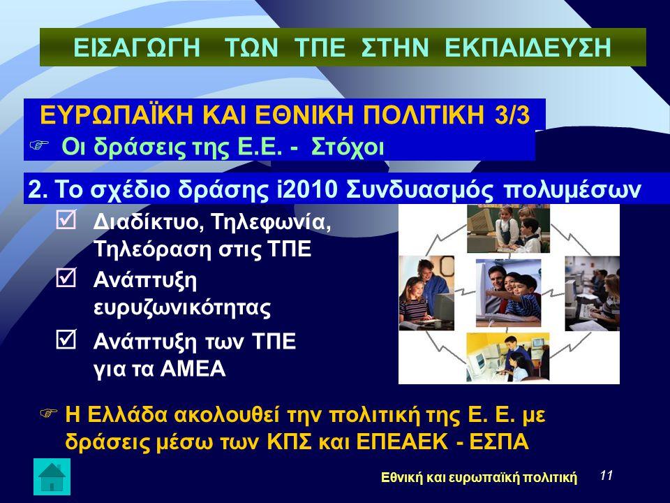 11  Οι δράσεις της Ε.Ε. - Στόχοι  Η Ελλάδα ακολουθεί την πολιτική της Ε. Ε. με δράσεις μέσω των ΚΠΣ και ΕΠΕΑΕΚ - ΕΣΠΑ 2.Το σχέδιο δράσης i2010 Συνδυ