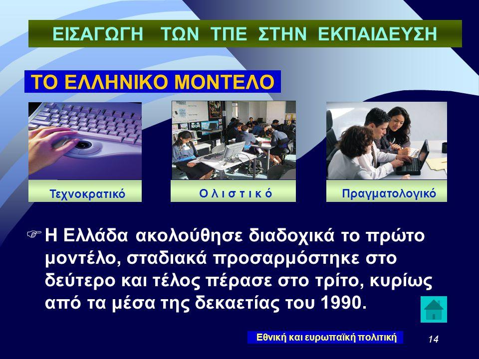 14 ΤΟ ΕΛΛΗΝΙΚΟ ΜΟΝΤΕΛΟ  Η Ελλάδα ακολούθησε διαδοχικά το πρώτο μοντέλο, σταδιακά προσαρμόστηκε στο δεύτερο και τέλος πέρασε στο τρίτο, κυρίως από τα