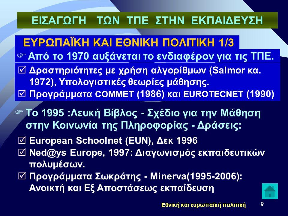 9 ΕΥΡΩΠΑΪΚΗ ΚΑΙ ΕΘΝΙΚΗ ΠΟΛΙΤΙΚΗ 1/3  Από το 1970 αυξάνεται το ενδιαφέρον για τις ΤΠΕ.  Δραστηριότητες με χρήση αλγορίθμων (Salmor κα. 1972), Υπολογι